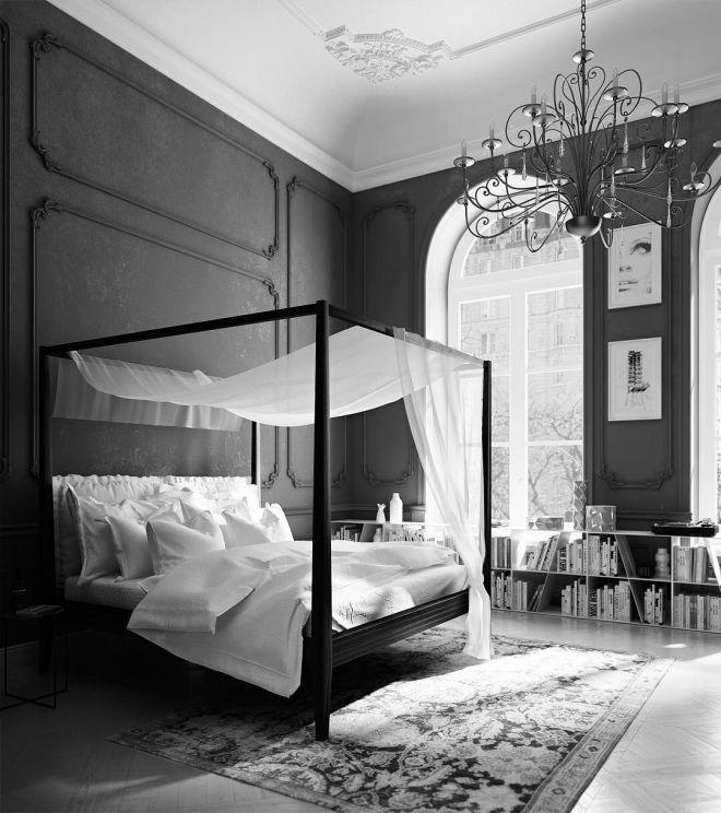 postel se závěsem