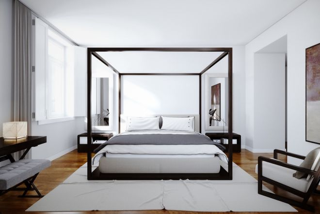 skandinavsky styl postel nebesa