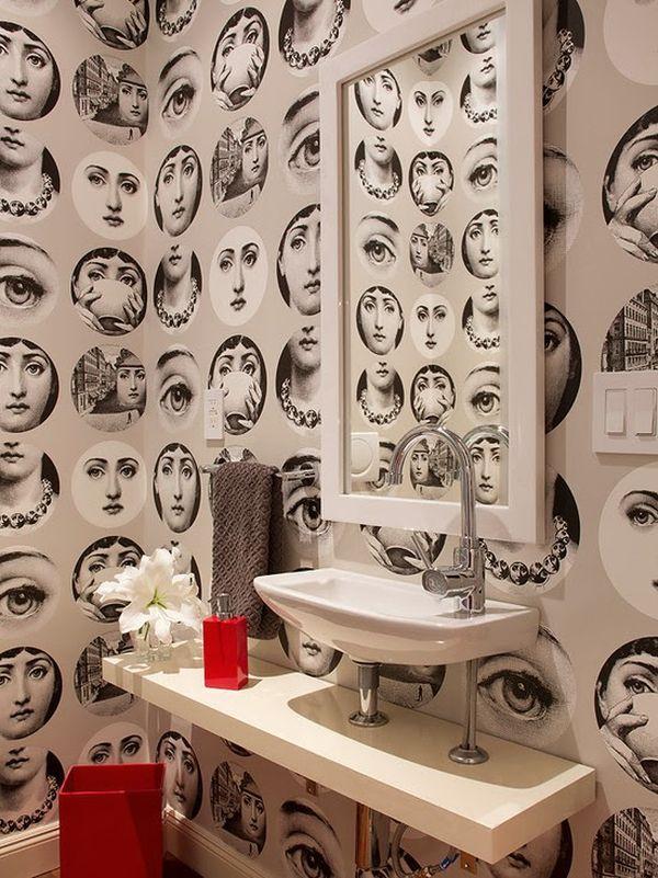 Vytapetovaná designová koupelna