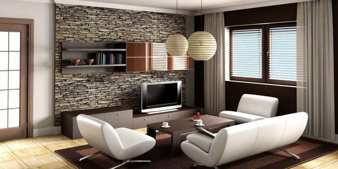 Elegantní obývací stěna a sedací souprava jako dominanta interiéru